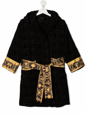 Халат с поясом и принтом Baroque Versace Kids. Цвет: черный