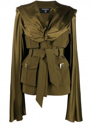 Куртка с поясом и кейпом Balmain. Цвет: зеленый