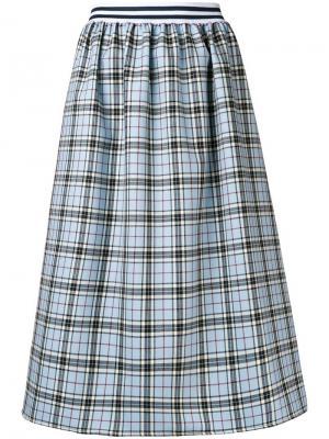 Расклешенная юбка миди в шотландскую клетку Ultràchic. Цвет: синий