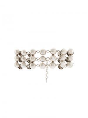 Ожерелье-чокер с бусинами Dannijo. Цвет: серый