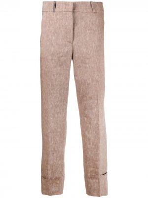 Укороченные брюки кроя слим Peserico. Цвет: коричневый