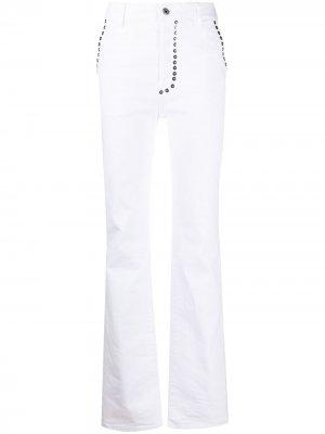 Прямые джинсы с заклепками Just Cavalli. Цвет: белый