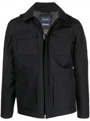 Легкая куртка с капюшоном Herno. Цвет: черный