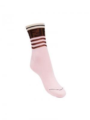 Носки с логотипом Fendi. Цвет: розовый