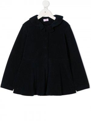 Пальто на пуговицах с оборками воротнике Il Gufo. Цвет: синий