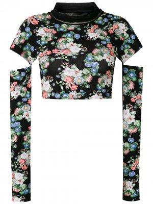 Укороченная блузка с цветочным принтом Gloria Coelho. Цвет: черный