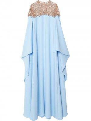 Платье с драпировкой Carolina Herrera. Цвет: синий