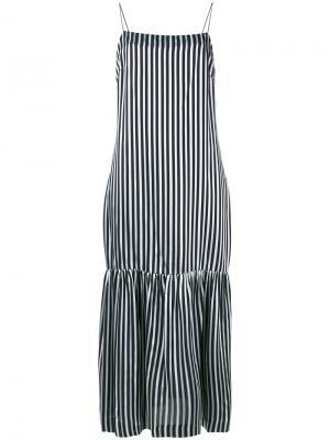 Полосатое платье на тонких лямках-спагетти Elizabeth And James. Цвет: чёрный