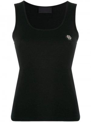 Топ без рукавов с логотипом Philipp Plein. Цвет: черный