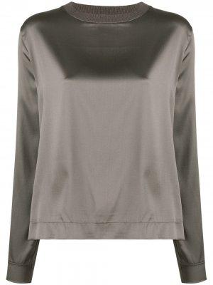 Блузка в рубчик с квадратным вырезом Fabiana Filippi. Цвет: серый