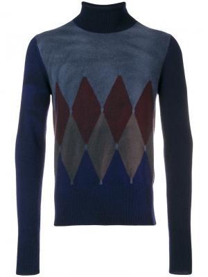 Вязаный свитер в клетку аргайл Ballantyne. Цвет: синий