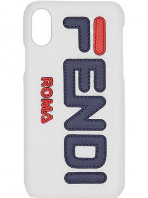 Чехол для Phone X Mania Fendi. Цвет: белый