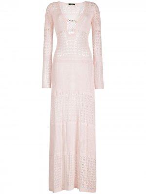 Пляжное платье макси в технике кроше Elisabetta Franchi. Цвет: розовый
