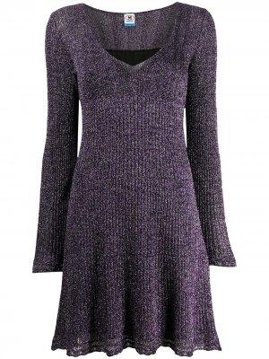 Платье тонкой вязки с эффектом металлик M Missoni. Цвет: фиолетовый