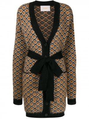 Пальто-кардиган с геометричным узором La Doublej. Цвет: желтый