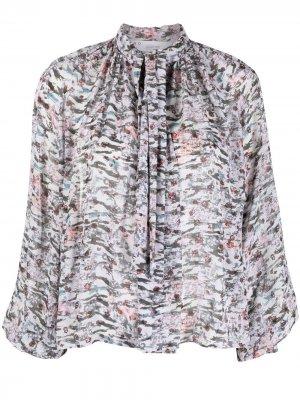 Блузка с абстрактным принтом и бантом IRO. Цвет: серый