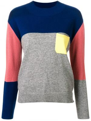 Кашемировый свитер в стиле колор-блок Chinti & Parker. Цвет: серый