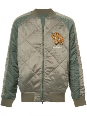 Стеганая двухсторонняя куртка Maharishi. Цвет: зеленый