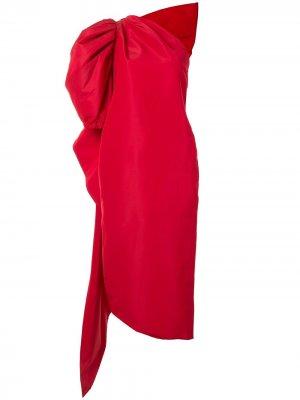 Платье миди асимметричного кроя Carolina Herrera. Цвет: красный