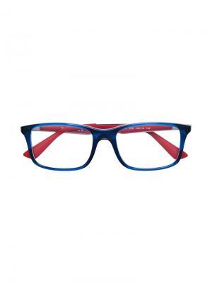 Двухцветные очки в прямоугольной оправе RAY-BAN JUNIOR. Цвет: синий