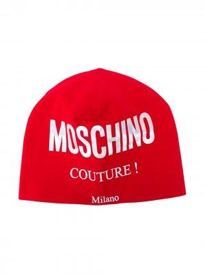 Шапка бини с логотипом Moschino Kids. Цвет: красный