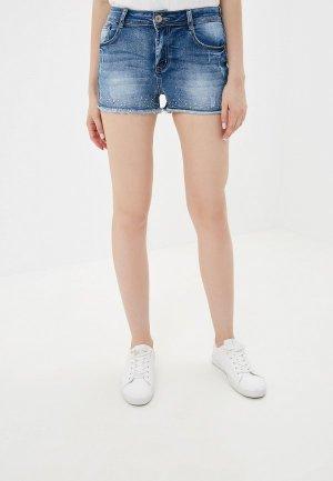 Шорты джинсовые G&G. Цвет: голубой
