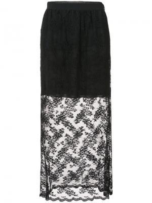 Длинная кружевная юбка Anna Sui. Цвет: чёрный