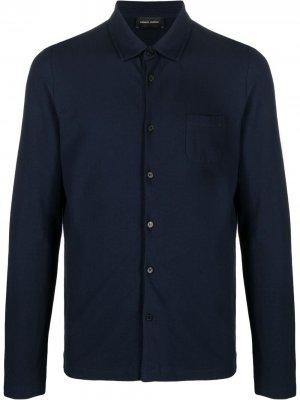 Рубашка из джерси Roberto Collina. Цвет: синий