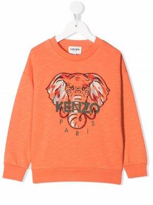 Джемпер с вышитым логотипом Kenzo Kids. Цвет: оранжевый