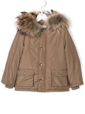 Fur-trimmed padded parka Bimbalo. Цвет: коричневый