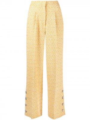 Твидовые брюки с завышенной талией Alessandra Rich. Цвет: желтый