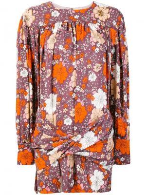 Коктейльное платье с цветочным принтом Magda Butrym. Цвет: розовый