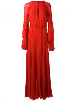 Платье в пол с рюшами на рукавах Giambattista Valli. Цвет: красный