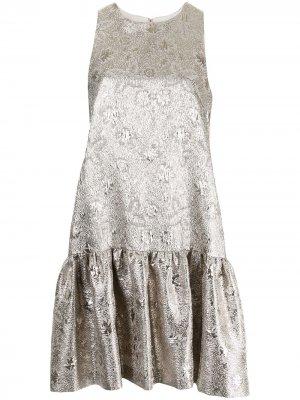Платье с жаккардовым цветочным узором Lela Rose. Цвет: серебристый