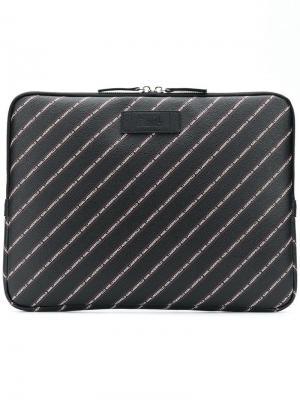 Чехол для ноутбука с полосками логотипами Karl Lagerfeld. Цвет: черный