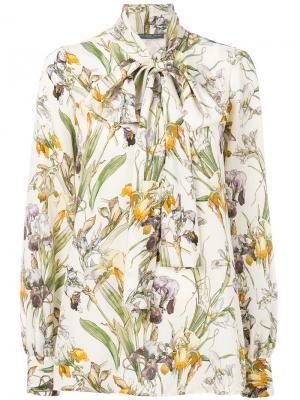 Блузка с бантом Wild Iris Alexander McQueen. Цвет: нейтральные цвета