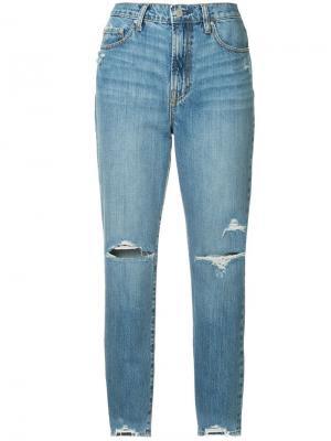 Зауженные джинсы Frankie с рваными деталями Nobody Denim. Цвет: синий