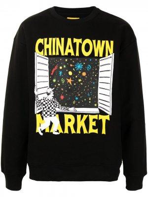 Пуловер с принтом Window Chinatown Market. Цвет: черный