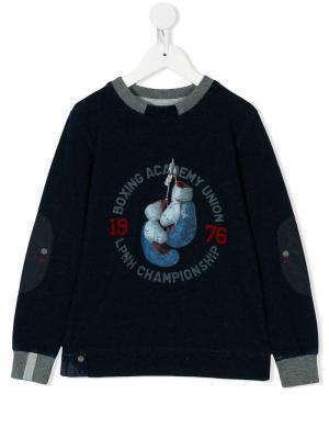 Boxing glove print sweatshirt Lapin House. Цвет: синий