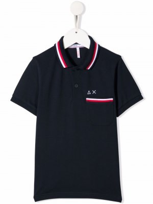 Рубашка поло с отделкой в полоску Sun 68. Цвет: синий