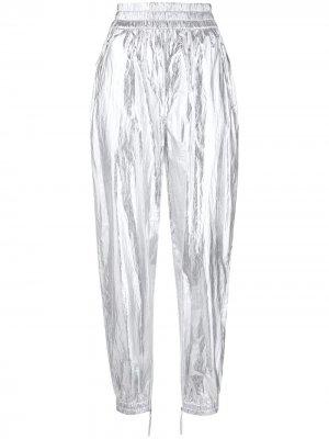 Зауженные брюки с эффектом металлик Isabel Marant. Цвет: серебристый