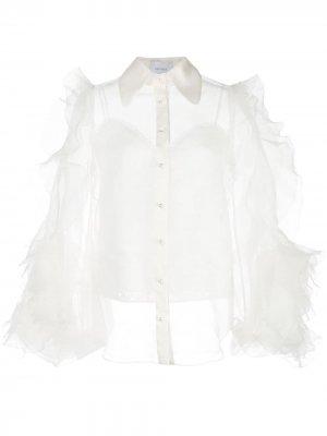 Прозрачная блузка с оборками на рукавах Marchesa. Цвет: белый