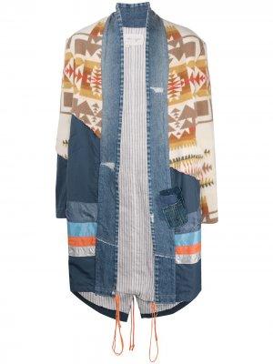 Пальто оверсайз со вставками Greg Lauren. Цвет: синий