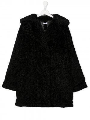 Пальто с нашивкой-логотипом Monnalisa. Цвет: черный