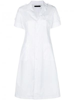 Платье-рубашка с короткими рукавами Rokh. Цвет: белый