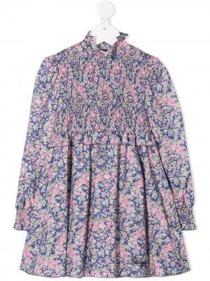 Платье с цветочным принтом Philosophy Di Lorenzo Serafini Kids. Цвет: черный