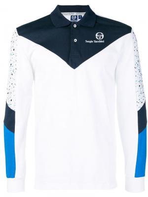 Рубашка-поло дизайна колор-блок Sergio Tacchini. Цвет: синий