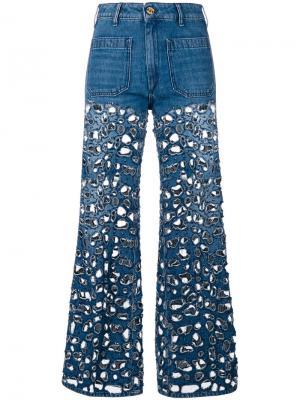 Расклешенные джинсы с вырезным дизайном The Seafarer. Цвет: синий