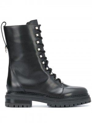 Ботинки в стиле милитари на шнуровке Sergio Rossi. Цвет: черный