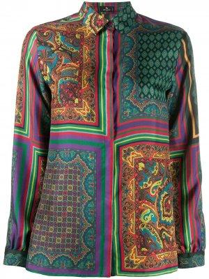 Рубашка с длинными рукавами и принтом Etro. Цвет: красный